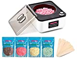 2020 NEW GENERATION Wax Warmer Kit for Home Waxing, No Melting Bowl Needed, YOUNG VISION Non-stick Wax Pot With 4 Colors Wax Beads for Full Body Hair Removal, Thick/Coarse Hair Specific…