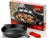 Varudi Cast Iron Pre- Seasoned Skillet Frying Pan (10.25 Inch, Black)
