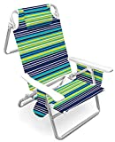 Caribbean Joe CJ-7750BLST 5 Position Folding Beach Chair with Carrying Strap,...