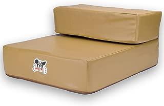 Weebo Pets 的 Smooth Steps 折叠皮革宠物椅,小品种移动辅助器,适合老化犬 棕褐色