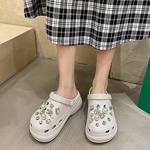 Zuecos Sanitarios Mujer,La Moda Femenina Lleva La Perla De Taladro De Agua Aumenta Las Zapatillas Planas, Los Viejos Zapatos De Playa Sordos, Las Zapatillas del BañO del JardíN Exterior-EU 35 (225mm