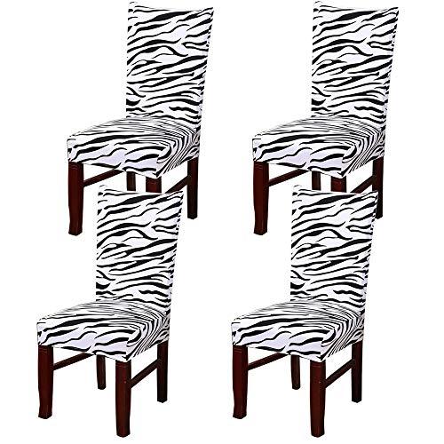 WANYIG Sedie da Sala da Pranzo Moderne con Motivo Stampato Coprisedia con Schienale Coprisedile Universale Elastico Lavabile Copertura della Sedia da Pranzo (Zebra Pattern, 4 Pezzi)