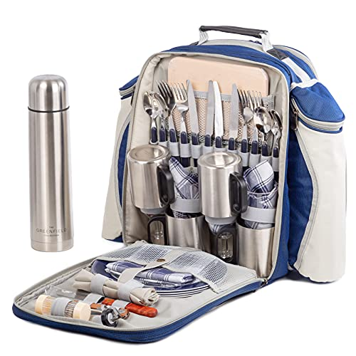 Greenfield Collection 4 Person Super Deluxe Navy Blue Picnic Backpack Hamper Includes Stainless Steel Cutlery, Flask, Plates, Cutting Board, Napkins, Tablecloth, and More