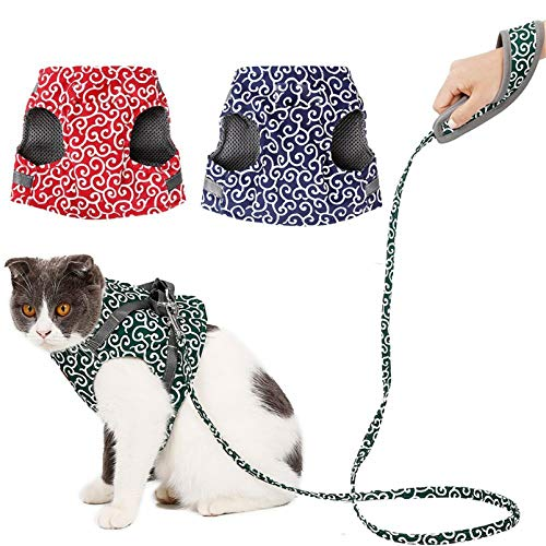 GHJYUK 3PCS Cat Harness and Leash for Walking, Escape Proof Soft Adjustable Vest Harnesses for Cats, Breathable Pet Safety Jacket with Padded Handle Leash D XS