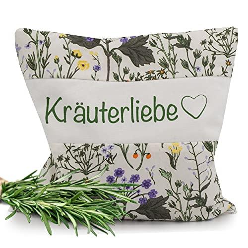 Herbalind Cojín de hierbas aromáticas con 11 mezcla de hierbas como almohada de 30 x 30 cm, ayuda para dormir, relleno de tomillo, romero, salvia, lavanda, lúpulo, manzanilla, anís