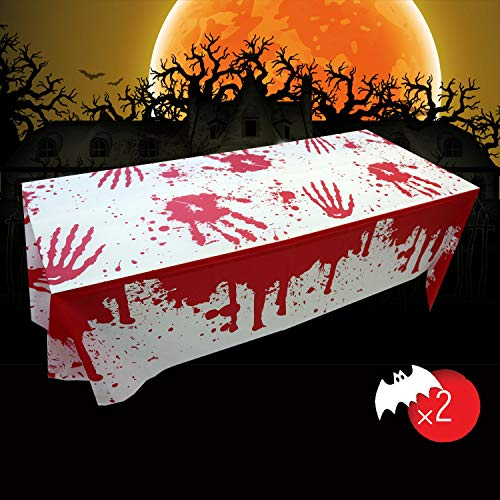 Weekend&Lifecan Tischtuch blutige gruselige , Halloween Party Dekoration Blutige Tischdecke , Tischdecke Halloween für Outdoor / Indoor Halloween Party Dekoration 2 Packs(106.3inch*53.9inch)
