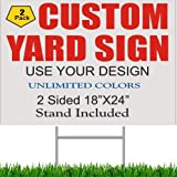 """2 Pack GSP 18X24 Custom Printed Yard Signs Full Color 2 Sided COROLEX Corrugated Plastic White Sheet 24"""" Wire Stand Included"""