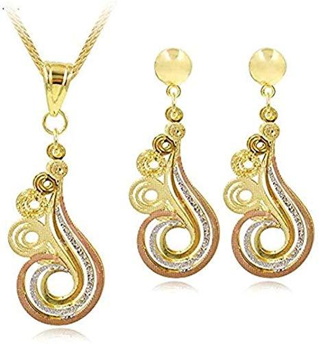 LBBYLFFF Collar Joyas Pendientes de Hadas Colgante Collar Conjunto de Joyas Nupciales para Mujeres para Fiesta Día de la Boda Collar Longitud 45cm Collar