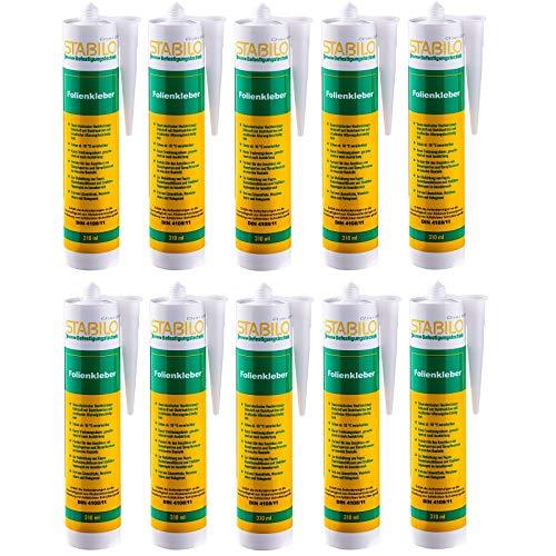 10x Stabilo Folienkleber, Dichtkleber, Dampfbremse, Dampfsperre, Dampfsperrfolie, Kleber, 10 Kartuschen 310 ml, Verklebung von Dampfsperren