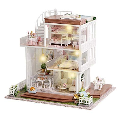 Casa en miniatura para construir muñecas de madera, modelo de kit creativo de muebles, 1:24, kit de construcción Woodcraft House Bricolaje, juguetes educativos