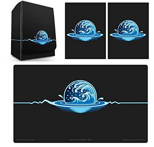 1 Iconic Elemental Water Symbol Blue Deck Box , PLAYMAT and 100 Double Matte Sleeves (fits MTG Mana Force of Will Cards) by Max-Pro