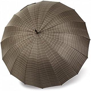Paraguas Vogue de Hombre de 16 Varillas con protección Solar, antiviento y Acabado teflón. Mango de Madera.