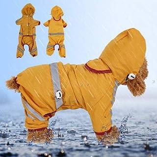 犬 レインコート 小型犬 中型犬 犬カッパ雨具 雪対策 防水 梅雨対策 通気性よい 洗える 着脱簡単 ポケット反射テープ付き size S-2XL(黄) (XL)