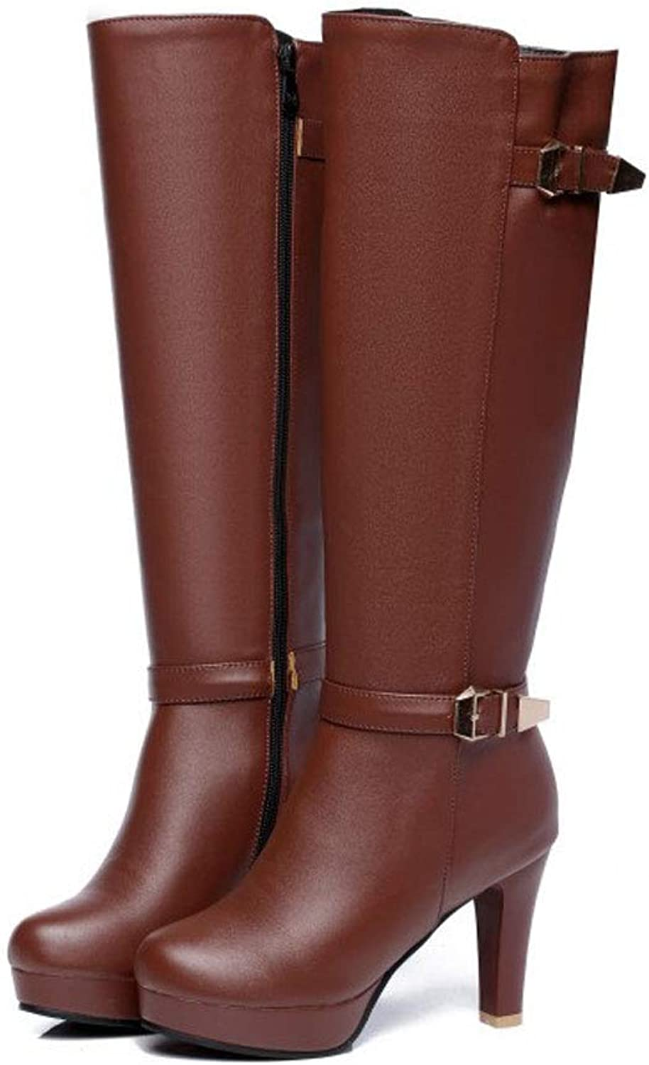 Over The Knee Boots High-Heeled Boots, Large Size Pointed Side Zipper Boots Waterproof Platform Knee Boots Thick with Non-Slip Comfortable Warm Belt Buckle Long Boots