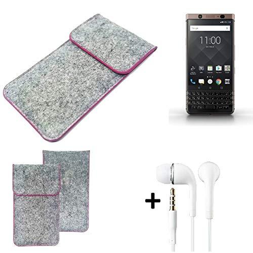 K-S-Trade Filz Schutz Hülle Für BlackBerry KEYone Bronze Edition Schutzhülle Filztasche Pouch Tasche Hülle Sleeve Handyhülle Filzhülle Hellgrau Pinker Rand + Kopfhörer