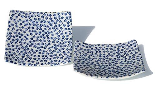 GOTO carré Japonais Bleu Mini Fleur Assiette 13.5 cm X2