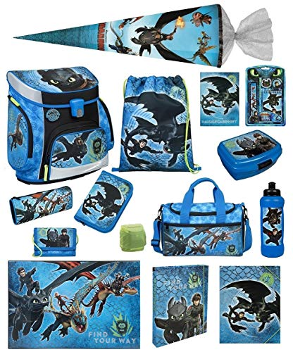 Familando Scooli Schulranzen-Set 19 TLG. Dragons - Drachenreiter von Berg - mit Federmappe, Sporttasche, Schultüte 85cm und Regenschutz Drache Ohnezahn