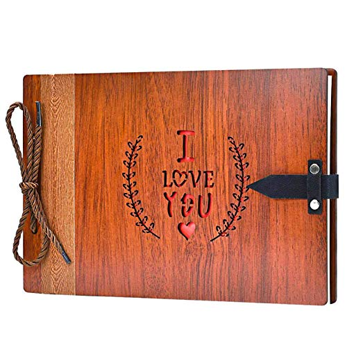 ZEEYUAN Wooden Photo Album Scrapbook DIY Photo Book Wedding Guest-Book 80 Pages Travel Memory Book Birthday Anniversary Valentine's Gift for Mother Father (I Love You)