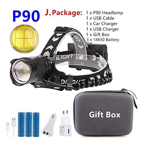 VIAIA Boruit Potente XHP90.2 LED Faro de Cabeza USB Recargable Faro Lámpara de Cabeza Antorcha Impermeable Zoom Fishing Light por 18650 Batería (Color : J Package)