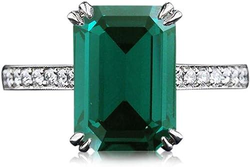 Vorra Fashion Luxus Smaragd Grün Zirkonia Damen Solitaire mit Ring-Akzente