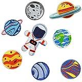 Parches para Ropa Infantiles Espacio - 8 Parches Termoadhesivos Bordados Decorativos Pequeños Planetas Astronauta Pantalones Niños para Planchar Coser Chaqueta Apliques Cumpleaños Bebe Pegatinas