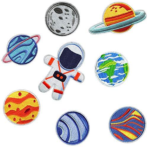 Toppe Termoadesive Bambini – Toppe Pianeti Spazio Astronauta, - Toppe per Jeans, Toppe per Pantaloni Bambini Ginocchia Applicazioni per Tessuti Termoadesive, Toppe da Cucire, Set da 8 Pezzi