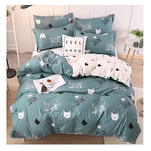 Rayhoo - Juego de ropa de cama de 3 piezas con sábana bajera y sábana bajera ajustable para cama individual, matrimonial o queen, microfibra ultrasuave para recámara de niñas (sin edredón), Cute Cat,green, Queen,90''x90''
