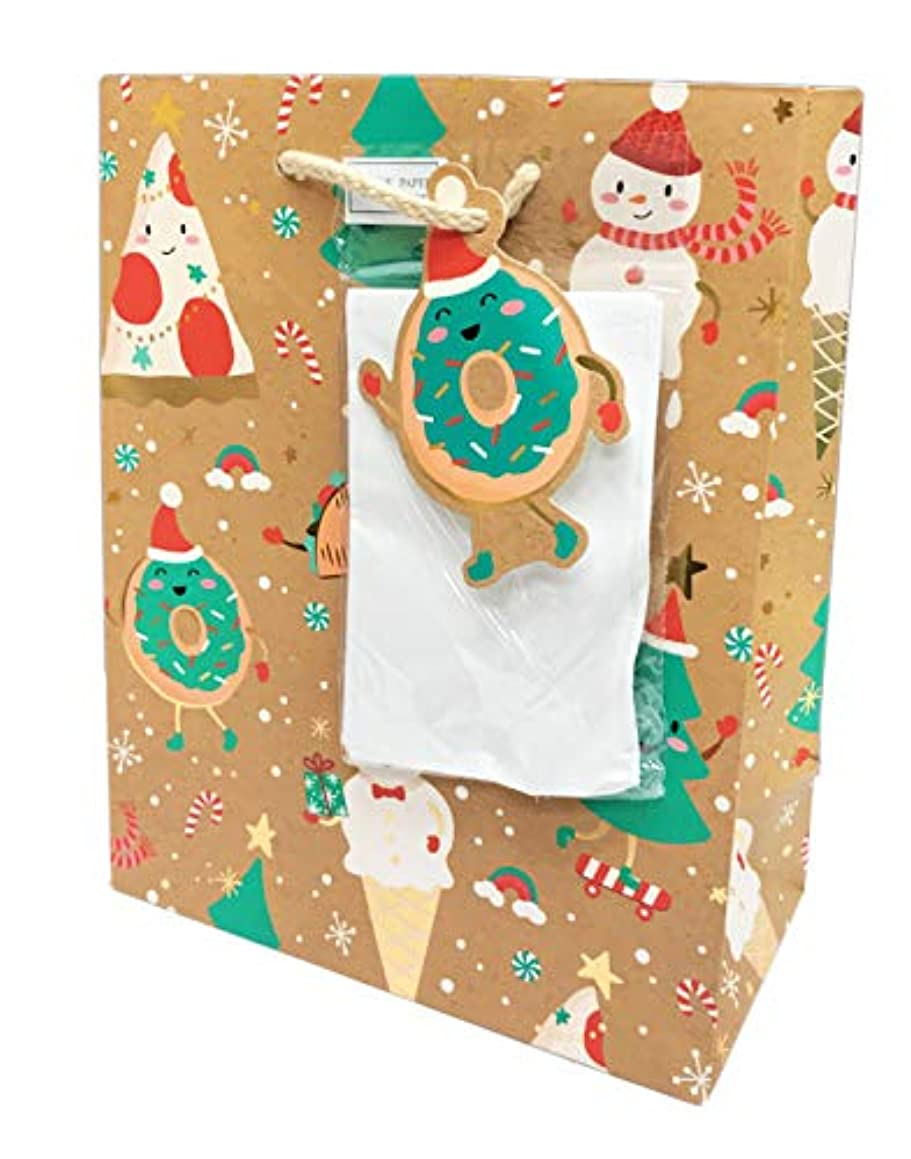 Cute Pizza, Doughnut, Taco & Ice Cream Food Dressed in Winter Holiday Attire Christmas Holiday Party Gift Bag & Tissue Paper (9.75 x 7.75 x 4)
