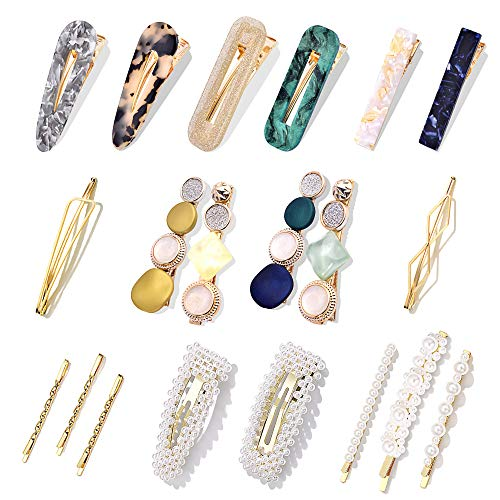 1.Fashion Design: Hollow geometric hair clips with fashion pattern, not only embellishes your hair, but also achieves graceful and sweet temperament, make you charmer and elegant. 2. 20 Charming STYLE: Package comes with 20 different styles hair pins...
