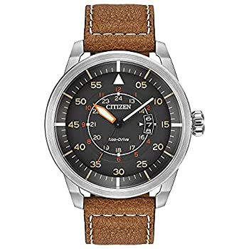 Citizen Eco-Drive Avion Quartz Mens Watch Stainless Steel with Leather strap Weekender Brown  Model  AW1361-10H
