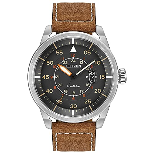 Citizen Eco-Drive Avion Quartz Mens Watch, Stainless Steel with Leather strap, Weekender, Brown (Model: AW1361-10H)