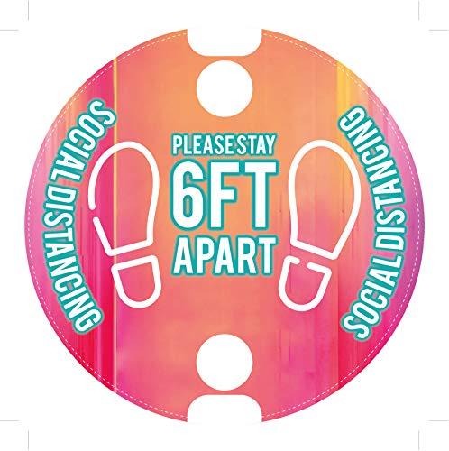"Social Distancing Floor Decal Stickers 6 Feet Distance Floor Markers 10"" Round- 6ft Apart Social Distance Sign are Anti-Slip, Commercial Grade, Waterproof - 10 Pack Floor Decals"