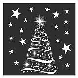 Stickers4 - Decoración de ventanas de Navidad – Árbol de Navidad con estrellas de Navidad – Decoración de ventana de temporada – Tamaño mediano – 2 unidades