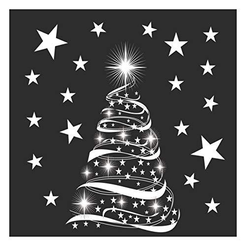 Stickers4 Weihnachtsdeko – Weihnachten Fensterdeko – Weihnachtsdeko Fenster – Fenster Christbaum Deko –Sternenbaummit Sternen Fenster-Sticker - Mittleres Doppelpack