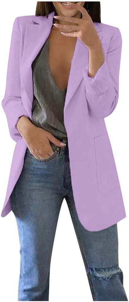 QIQIU Womens Office Plus Size Long Solid Long Sleeve Pocket Elegant Cardigans Suit Casual Jacket Coats