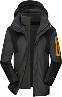 AbelWay Men's Mountain Waterproof Windproof Fleece 3 in 1 Jacket Ski Hooded Rain Coat