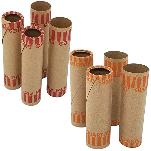 J Mark Burst Resistant Preformed Quarter & Penny Coin Roll Wrappers, Made in USA, 60-Count Each (Penny/Quarter) Heavy Duty Cartridge-Style Coin Roller Tubes, Includes J Mark Coin Deposit Slip