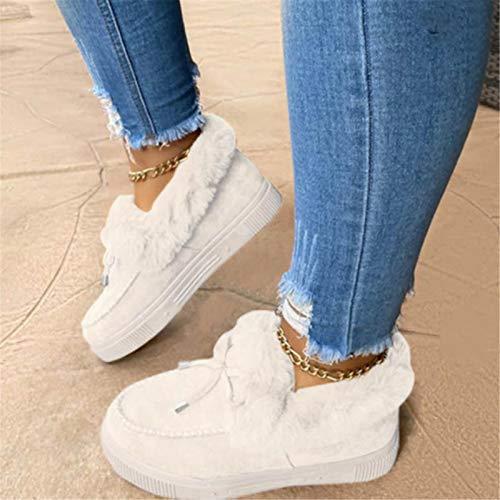 Corashoes, Botas Planas de Moda Informal, Botas de Nieve para Mujer, Zapatos Planos con Plataforma, Bonitos Zapatos cálidos de Invierno para Mujer (Color : White, Size : 43)