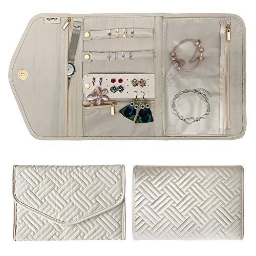 Travel Jewelry Organizer – Portable Jewelry Pouch/Bag/Case/Roll - Unique Birthday/Anniversary/Graduation Gifts for Women/Mom/Sister/Her/Fiancee/Best Friend (Cream)