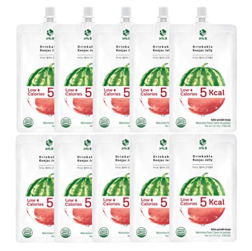 Jelly.B Drinkable Konjac Jelly (10 Packs of 150ml) - Healthy and Natural Weight Loss Diet Supplement Foods, 0 Gram Sugar, Low Calorie, Only 5 kcal Each Packets, (Watermelon)