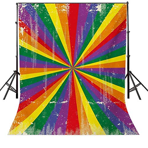 Pride 6x8 FT Photo Backdrops,Radial Vintage Style Scratched Backdrop for Homosexual Gay Lesbian Couples Print Background for Child Baby Shower Photo Vinyl Studio Prop Photobooth Photoshoot Multicolor