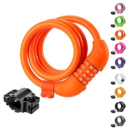 Titanker Bike Lock, Bike Locks Cable 4 Feet Coiled Secure Resettable Combination Bike Cable Lock...