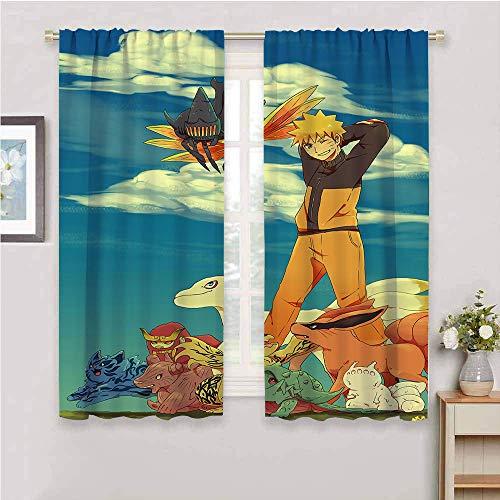 Paneles de cortina opacas con aislamiento térmico, diseño de anime japonés Naru-to