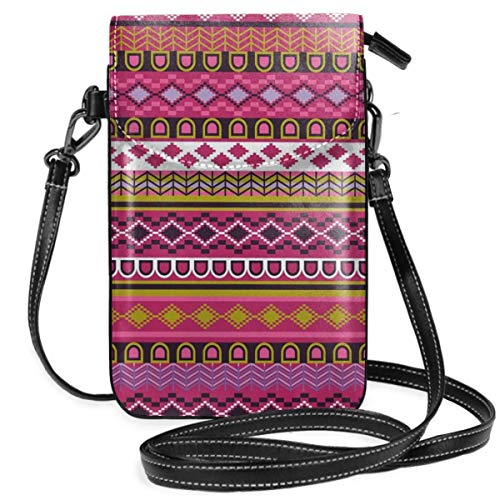 Jiger Women Small Cell Phone Purse Crossbody,Traditional African Motifs And Borders Ethnic Tribal Accents Vintage Native Folk Art