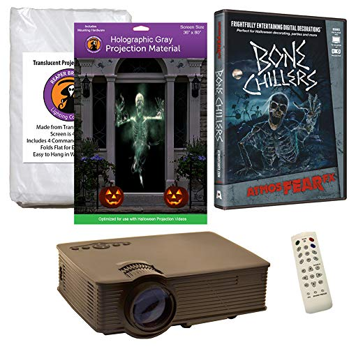 Halloween Window Projection Kit Includes 1900 Lumen Projector, 2 High Resolution Projection Screens (R/D) and AtmosFEARFx Bone Chillers on DVD