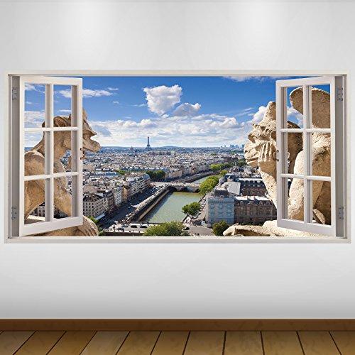 LagunaProject Extra Grande Las gárgolas de la Ciudad de París Vista de Vinilo 3D Póster - Mural Decoración - Etiqueta de la Pared -140cm x 70cm
