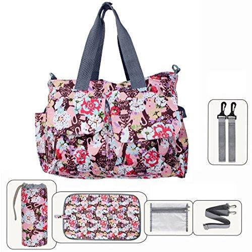 My Share Mall Original Floral Designer Diaper Tote Bags(Rose Red)