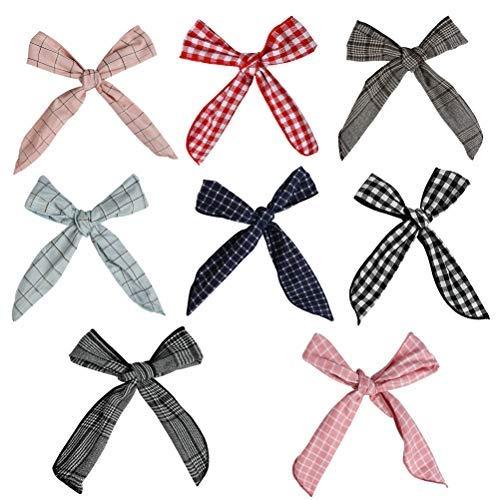 FOCCTS 8 Stück biegbares Haarband Bunny Ohr binden Bow Stirnband Twist Bow Wired Stirnbänder aus Baumwolle mit Polka Punkt oder Streifen für Damen