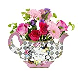 Talking Tables Alice in Wonderland Teapot Vase | Flower Centrepiece | For Mad Hatter Afternoon Tea Party, Birthday, Wedding, Baby Shower | Paper, Pack of 1, Height 17cm, 7', Mixed colors