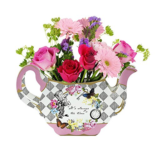Talking Tables Alice in Wonderland Teapot Vase | Flower Centrepiece | For Mad Hatter Afternoon Tea Party, Birthday, Wedding, Baby Shower | Paper, Mixed Colours, Pack of 1, Height 17cm, 7'